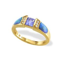 Yellow Gold Ring with Opal Inlay, Tanzanite and Diamonds