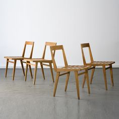 Joaquim Tenreiro - Brazil, 1950s Set of four chairs with slatted seat in pau marfim (ivory wood). Designed by Joaquim Tenreiro for a private commission in the Flamengo neighborhood of Rio de Janeiro. at R & Company in NY