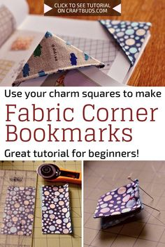 Fabric Corner Bookmarks Sewing Tutorial - All you need for this beginner's sewin. Fabric Corner Bookmarks Sewing Tutorial – All you need for this beginner's sewing project is a Sewing Machine Projects, Scrap Fabric Projects, Fabric Crafts, Sewing Machines, Christmas Sewing Projects, Sewing Projects For Beginners, Cute Sewing Projects, Bookmark Craft, Corner Bookmarks