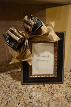 Elegant Black And Gold Ribbon Frame by kristenscreations on Etsy