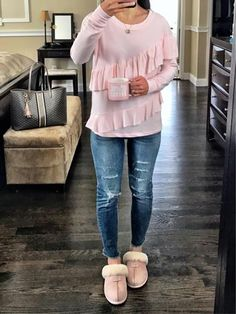 IG MrsCasual <click through to shop this look> cozy outfit idea, ugg slippers, pink ruffled sweatshirt, coffee mug