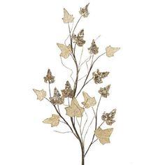 "Champagne Glittered Ivy Branch 32""  Price : $10.95 http://www.perfectlyfestive.com/RAZ-Imports-Champagne-Glittered-Branch/dp/B009G40Z3S"