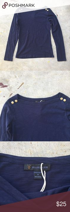 Franklin Fox Navy Boatneck Top Navy boatneck top with gold buttons in shoulders. Dress it up for a party or down for a day at the park! RRB loves offers but cannot trade at this time. ~{We are ALL beautiful.}~ Franklin Fox Tops