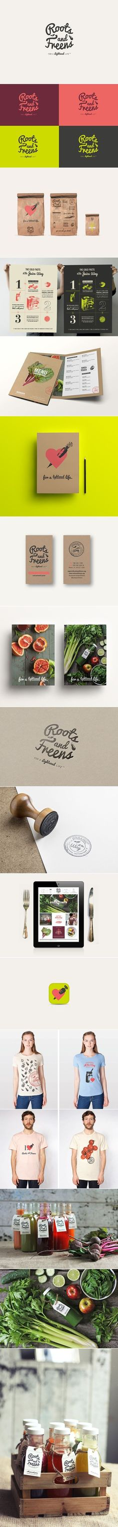 Unique branding design. Roots and Freens.