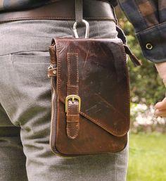 Men Genuine Leather Hiking Fanny Waist Belt Pack Small OutDoor Messenger Bags #leaokuu #FannyWaistPack