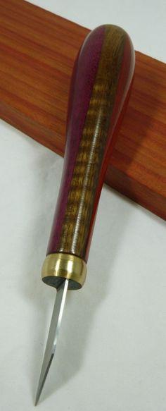 Purpleheart Ipe and Padauk 'Dovetail' Marking Knife by Leoswood