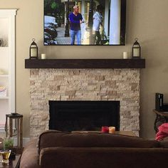 10 Best Useful Tips: Floating Shelf Decor Picture Ledge floating shelves fireplace nooks.Floating Shelves With Pictures Toilets floating shelves nightstand simple. Wood Mantle Fireplace, Wooden Mantel, Rustic Mantel, Home Fireplace, Fireplace Remodel, Fireplace Design, Rustic Wood, Basement Fireplace, Fireplace Update