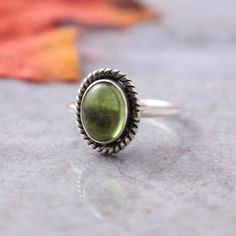 Peridot ring, Olive green ring, August birthstone silver handmade ring