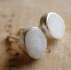 Natural Agate Druzy Studs Oval Soft Grey Agate Geode by OhKuol.