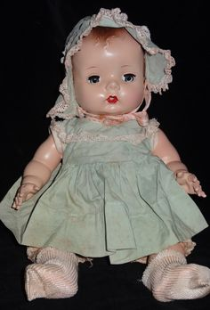 Tiny Tinkle, Madame Alexander, all original, drink and wet strung hard plastic, 1948, 12 inches tall.
