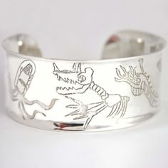 Personalized Cuff bracelet with your child's drawing by tinaroeder, $225.00