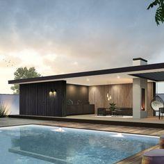 Modern Pool House, Modern Gazebo, Modern Pools, Modern House Design, Pool Landscape Design, Terrace Design, Patio Design, Pool House Designs, Backyard Pool Designs