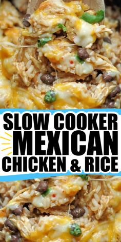 Slow Cooker Spicy Chicken & Rice is simple, packed with flavor, has just a bit of a kick and perfect for any weeknight meal. Recipe link is number TWO on our list of BEST Mexican Recipes! Crockpot Dishes, Crock Pot Slow Cooker, Crock Pot Cooking, Slow Cooker Recipes, Crockpot Recipes, Cooking Recipes, Rice Recipes, Healthy Cooking, Mexican Dishes