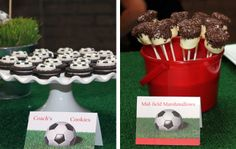 Oreo cookies with a Wilton candy soccer ball on top