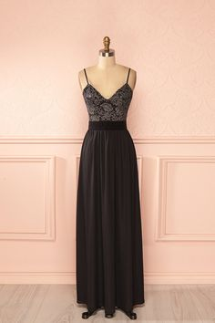 Kenna Nuit - Black and silver lace bust maxi dress