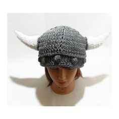 Horned Viking Hat Novelty Beanie Cabled Viking Hat in Grey (515 MXN) ❤ liked on Polyvore featuring accessories, hats, crochet beanie cap, cable knit beanie hat, crochet hats, crochet ribbed beanie and cable knit beanie