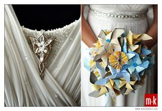 If I could describe Mike and Louie's wedding it would probably be geek chic meets whimsy — a mix of Lord of the Rings, Dungeons and Dragons, pinwheels and carnival. Paper Pinwheels, Blue Leaves, Boutonnieres, Geek Chic, Bridal Bouquets, Bliss, Gown, Geek Stuff, Colorful