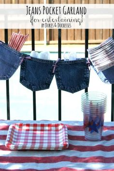 Old jeans pockets held together with ribbon to hold cutlery, napkins, etc at a bbq.