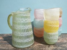 Vintage Color Craft Shatter Proof Pitcher and Cups. Spaghetti String. Pastel. Spring / Summer Kitchenware. Shat - R- Pruf. 10 PC SET