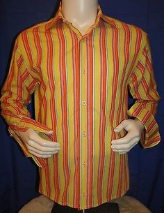 LUCHIANO-VISCONTI-Mens-Shirt-French-Cuffs-Large-L-Long-Sleeve-LS-Made-In-Italy