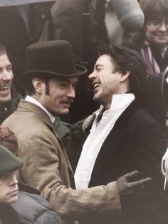 "Jude and Robert between takes, ""Sherlock Holmes"""