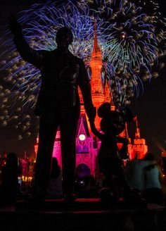 """Silhouette of the """"Partners"""" statue at the Magic Kingdom."""
