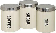 Maturi Tea Coffee Sugar Storage Canisters, Set of 3
