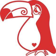 Tukan *tuCalm*, rot, linksblickend, Velours-Motiv zum Aufbügeln - PeppAuf.de