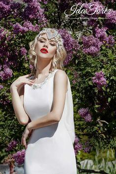 Chic Trumpet-Mermaid Jewel Natural Sweep-Brush Train Stretch Crepe Ivory/Dark Champagne Sleeveless Buttons Wedding Dress Beading 01017