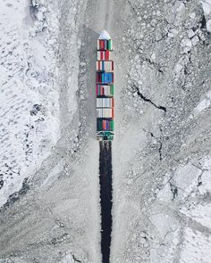 Container ship breaking ice on the Baltic sea - Daily LOL Pics Fotografia Drone, Drones, Dji Quadcopter, Ship Breaking, Aerial Drone, Ice Breakers, Baltic Sea, Birds Eye View, Aerial Photography