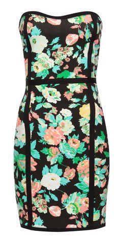 Pull strapless printed dress