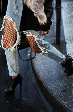 fishnet tights under jeans