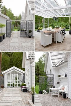 love the outdoor living area : The White Wooden House // Бялата къща от дърво Outdoor Living Areas, Outdoor Rooms, Outdoor Gardens, Outdoor Decor, Scandinavian Garden, Wooden House, Dream Garden, Garden Planning, Exterior Design