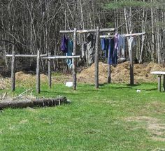 Love these clotheslines! One for Mama to hang and one for the helpers to use!