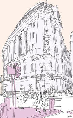 Lever House, London #leverhouse #london #acrylic #print #art #architecture #pastel #grey. © Tommy Penton 2014
