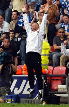 Wigan Athletic versus Manchester United May 2008 SIR ALEX FERGUSON CELEBRATES THE WIN