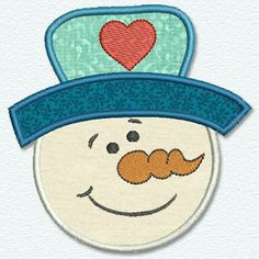 Adorable Applique  snowman with heart on hat