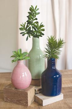 Kalalou Ceramic Bud Vases - Rose, Mint, Navy - Set Of 3 - This set of 3 bud vases will add a cheerful pop of color to your table top.