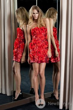 Amen Haute Couture 2013 strapless short red Poppy flower dress