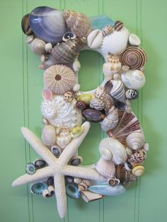 Beach Decor Shell Letters  Colorful Shell Letters  by LiveCoastal, $30.00