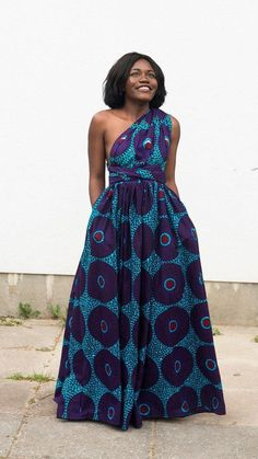 Maxi INFINITY dress in purple record by ofuure on Etsy. Can be worn more than 6 different ways. Made with cotton high quality African print wax fabric (affiliate) African Maxi Dresses, 20s Dresses, African Dresses For Women, African Attire, African Wear, African Women, African Style, Short Dresses, Long Gowns