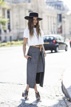 Nicely belted asymmetric skirt and some adorable heels.