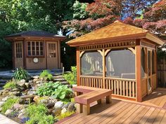 When designing a beautiful backyard, why not top it all off with a stylish and functional shed or gazebo. This Montpellier features a built-in screen kit so you can enjoy your backyard insect-free! Wooden Pavilion, Gazebo Pergola, Western Red Cedar, Montpellier, Building Plans, Wooden Gazebo Plans, Outdoor Spaces, Shed, Backyard