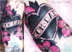 #old #school #neo #traditional #sweet #candy #heart #flowers #tattoo #mom #dad