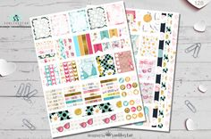 PRINTABLE STICKERS Beach Party Summer Planner Stickers, Instant Download, Watercolor Print Daisy Flower Pink Bikini Fashion Gold Foil…
