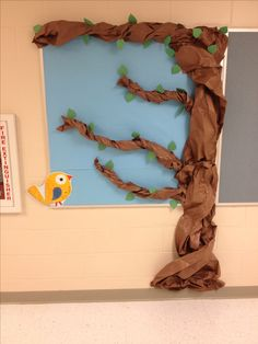 """Flocking to Third Grade"" bulletin board. Bird Bulletin Boards, Classroom Bulletin Boards, Classroom Fun, Classroom Activities, Rainforest Classroom, Rainforest Activities, Paper Tree Classroom, Thankful Tree, School Displays"