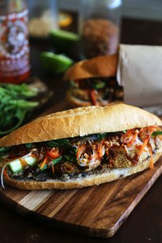 Vegan crumbed eggplant bánh mì with mushroom pâté and sriracha mayonnaise Best Vegetarian Sandwiches, Vegan Sandwich Recipes, Lunch Recipes, Cooking Recipes, Vegan Sandwiches, Sandwich Ideas, Protein Recipes, Vegetarian Dinners, Vegetarian Recipes Easy