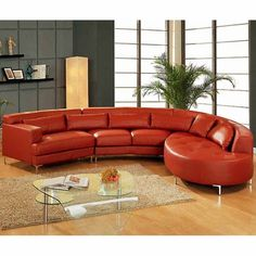 Tosh Furniture Velletri Ultra Modern Leather Sectional Sofa