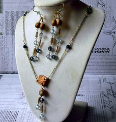 Swarovski Crystal and Oriental Symbol Long Necklace and Earring Set