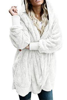 Dokotoo Womens Casual Cozy Warm Ladies Fuzzy Winter Fall Open Front Long  Sleeve Fleece Pocket Hooded · Hooded CardiganCardigan SweatersSweater ... 802ee7163